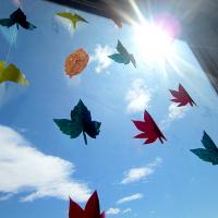 10月:落ち葉の窓飾